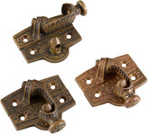 Rejuvenation Set of 3 Ornate Cast Brass Sash Locks c1875