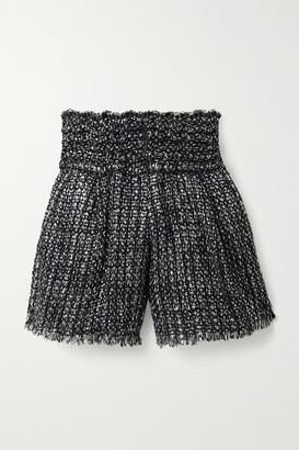 IRO Guarding Frayed Metallic Boucle-tweed Shorts