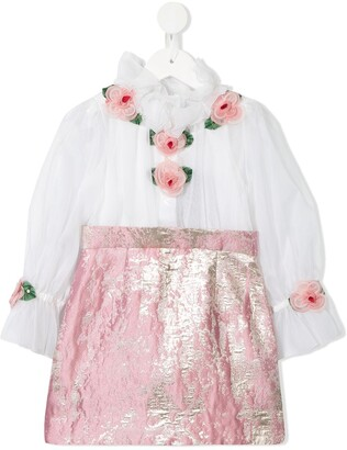 Dolce & Gabbana Kids Rose Detail Contrast Skirt Dress