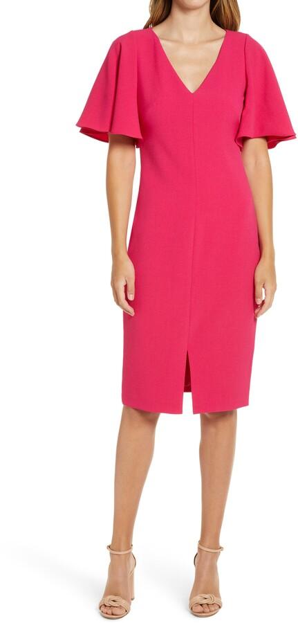 Eliza J Flutter Sleeve Crepe Sheath Dress