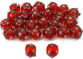 Generic Red Round Dot Glass Beads Lampwork 11mm Approx 25