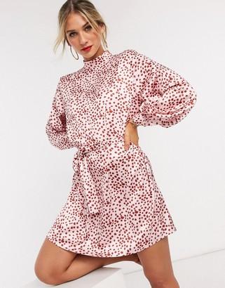 Pretty Lavish belted mini dress in pink polka dot
