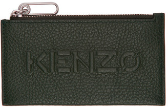 Kenzo Khaki Zip Imprint Card Holder