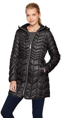 Kenneth Cole Women's Hooded Chevron Quilted Lightweight Puffer With Chunky Zipper Outerwear