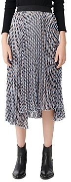 Maje Jela Pleated Midi Skirt