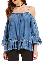 Takara Frayed Cold-Shoulder Chambray Top