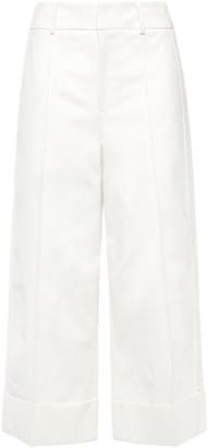 GOEN.J Cropped Crochet-trimmed Cotton-blend Gabardine Wide-leg Pants