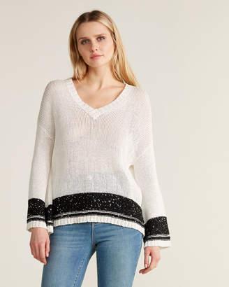Les Copains White Contrast Sequin Trim Sweater