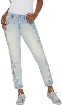 Laurie Felt Classic Denim Embroidered Slim Leg Jeans