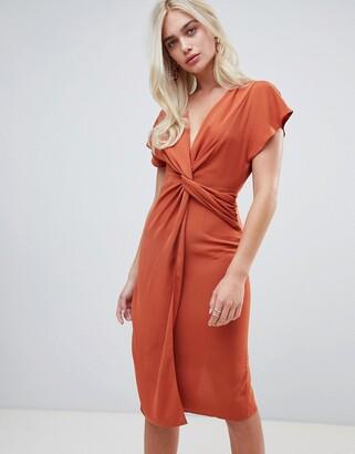 Asos Design DESIGN twist midi dress with kimono sleeve