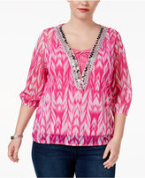 INC International Concepts Plus Size Embellished Peasant Top, Created for Macy's