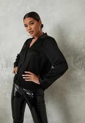 Missguided Black Satin Mid Fit Shirt