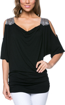 Magic Fit Black Sequin-Shoulder Cutout Top