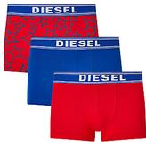 Diesel Shawn Star Print Plain Trunks, Pack Of 3, Red/blue