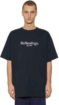 Balenciaga OVERSIZE EMBROIDERED COTTON T-SHIRT