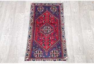 "Schick Bloomsbury Market One-of-a-Kind Tribal Geometric Persian Hand-Knotted 1'9"" x 3' Wool Red Area Rug Bloomsbury Market"