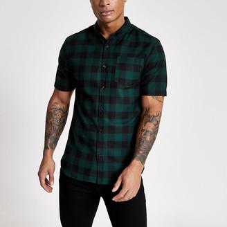 River Island Dark green check regular fit shirt