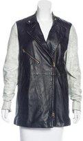 Closed Leather Short Coat