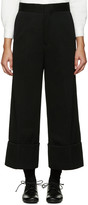 Y's Black Wide-Leg Chino Trousers