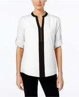 Calvin Klein Half-Zip Animal-Print Blouse