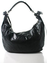 Miu Miu Black Leather Zippered Medium Hobo Handbag