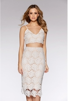 Quiz White And Nude Lace Midi Skirt