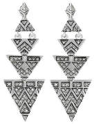 House Of Harlow Pave Tribal Triangle Earrings Silver