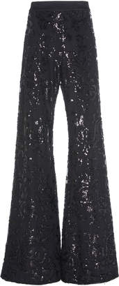 Alexis Silvestro Sequined Embroidered Crepe Flared Pants