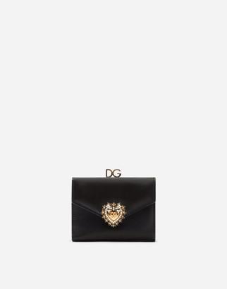 Dolce & Gabbana Devotion French Flap Wallet In Calfskin