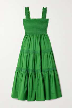 Tory Burch - Tiered Shirred Cotton-blend Poplin Midi Dress - Green