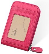 Boshiho RFID Blocking Card Holder Genuine Leather Credit Card Case Organizer Compact Wallet Zip Around Accordion Style