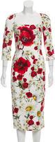 Dolce & Gabbana 2016 Poppy & Daisy Print Sheath Dress