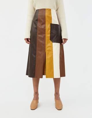 Mijeong Park Color Block Faux Leather Skirt