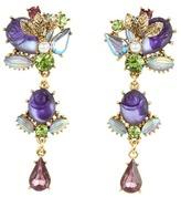 Betsey Johnson Carved Rose Multi Gem Linear Earrings (Purple) - Jewelry
