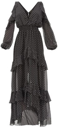Dundas Off-the-shoulder Tiered Polka-dot Silk Maxi Dress - Black White
