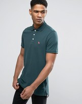 Abercrombie & Fitch Slim Fit Core Polo With Moose Embroidery In Olive