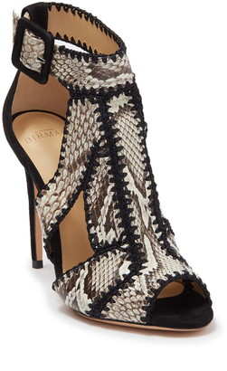 Alexandre Birman Edith Python Embossed Whipstitched Stiletto Sandal