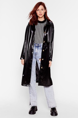 Nasty Gal Womens Sheen You Around Collared Vinyl Coat - Black - 4