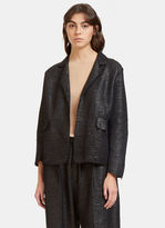 Boboutic Women's Oversized Tactile Woven Jacket in Black