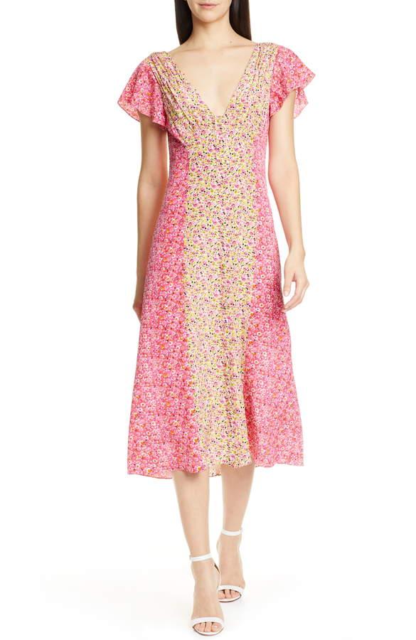 Cinq à Sept Jessica Floral Stripe Midi Dress