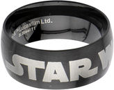 Star Wars FINE JEWELRY Logo Mens Stainless Steel and Black IP Dome Ring