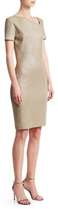 St. John Brielle Knit Asymmetric Neck Sequin Dress