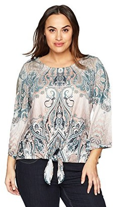One World ONEWORLD Women's Plus-Size Flared Sleeve Tie Front Printed Top with Embellishment