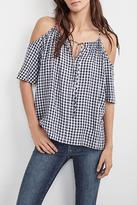 Velvet Gingham Cold Shoulder Top