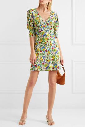 Saloni Colette Floral-print Crepe De Chine Mini Dress - Green