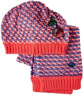 Little Marc Jacobs Fancy Sequined Cherry Scarf And Hat Set (Tod/Kid) - Red/Blue - 52