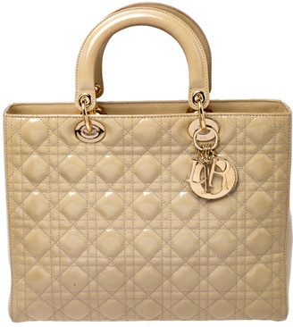 Christian Dior Beige Cannage Patent Leather Large Lady Tote