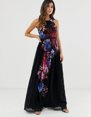 Little Mistress floral placement print maxi dress