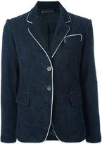 Simonetta Ravizza piped trim blazer - women - Suede/Cupro - 40