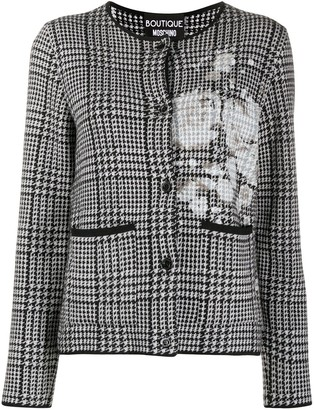 Boutique Moschino Houndstooth Fitted Cardigan